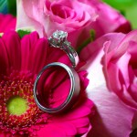 Bride and groom's rings in flowers